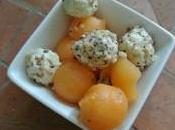Fraîcheur melon fromage frais sésames noisettes