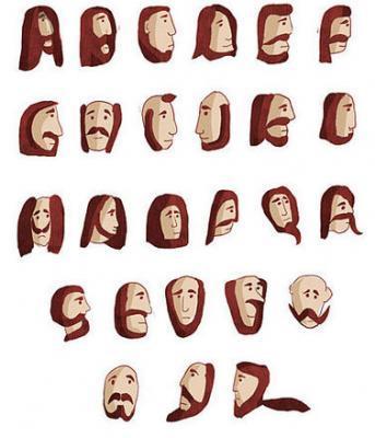 Les alphabets avec des têtes bien pilositées .