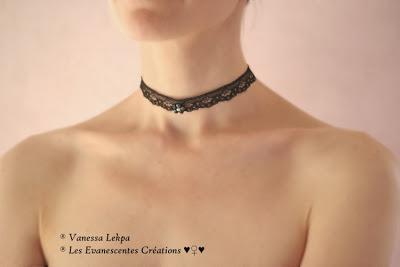collier ras de cou noir femme