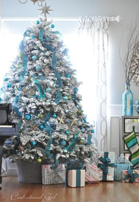 decoration sapin de noel blanc et bleu - Decorer Un Sapin De Noel Blanc