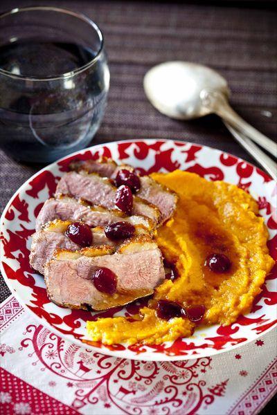 Ton d ner de no l magret de canard aux cranberries pur e de patates douces paperblog - Magret de canard noel ...