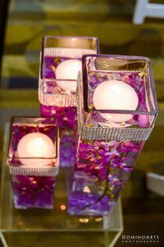 7 centres de table avec du ruban de strass d couvrir for Place du verre a eau sur une table