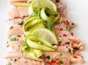 Défi Delhaize Ceviche saumon tagliatelles d'asperges