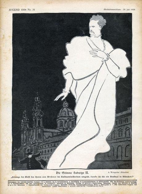 La voix de Louis II de Bavière, une caricature dans le magazine Jugend (1908)