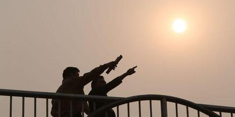 Lors d'une alerte à la pollution à Pékin, en Chine, le 26 mars.