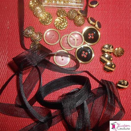 Matériel pour DIY Collier boutons dorés et noirs | Kustom Couture