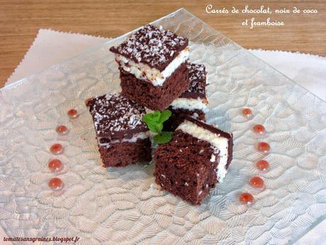 Carrés chocolat, noix de coco et framboise...