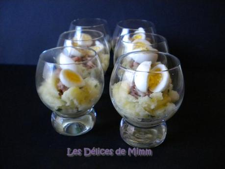 Ecrasé de pommes de terre, crevettes grises et œuf de caille (mise en bouche) 3