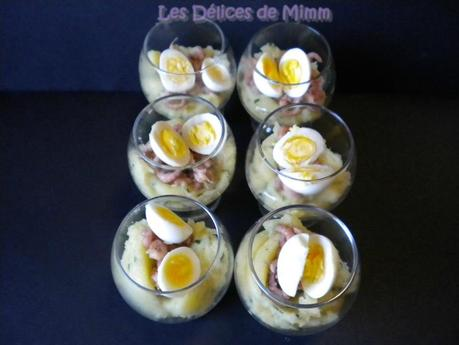 Ecrasé de pommes de terre, crevettes grises et œuf de caille (mise en bouche) 4