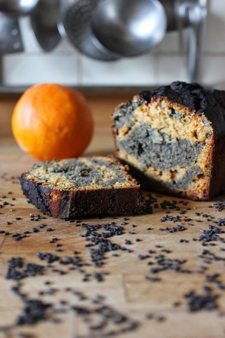 Cake marbré orange et sésame noir