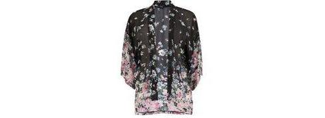 New Look Inspire Black Contrast Floral Border Semi Sheer Kimono Top 22,99 €