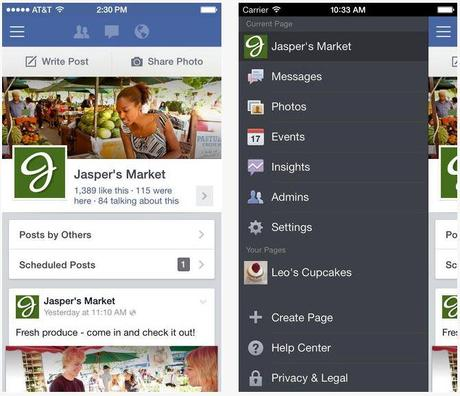 gestionnaire pages facebook ios 7