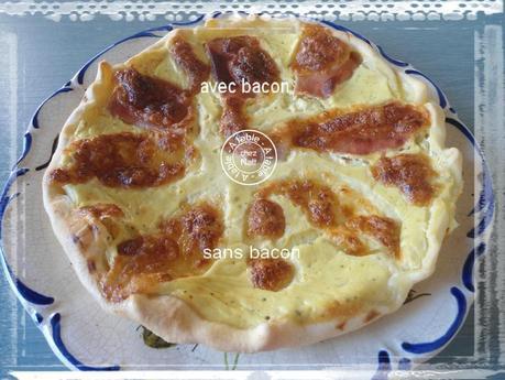 Quiche originale Courgettes au chèvre frais chiffonnade de bacon mozzarella