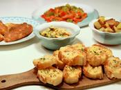 Tapas crevettes marinées ail-persil, poivrons grillés, pommes terre sautées, croquetas pain ail-tomate