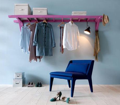 diy d tourner une chelle pour en faire un portant v tements voir. Black Bedroom Furniture Sets. Home Design Ideas