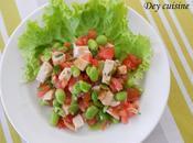Salade fèves poulet, sauce vierge
