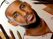 Timelapse d'un portait LeBron James crayons couleur