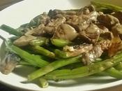 Poèlée légumes, haricots verts champignons boeuf