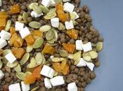Salade lentilles, feta, abricots graines courges