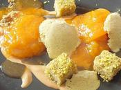 Abricots confits, pain Gênes pistache, glace pistache touron liquide