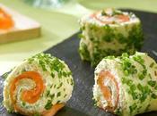 Roulé saumon fumé, concombre ciboulette