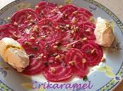 Carpaccio betteraves crues noix chèvre