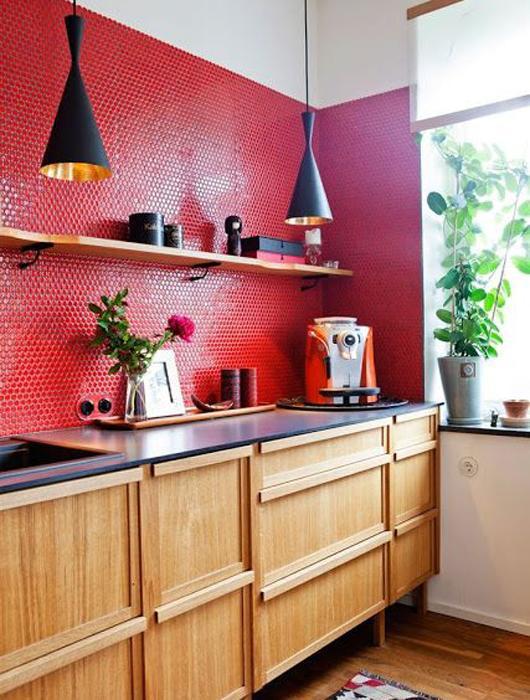 25 id es de cuisine rouge lire - Cuisine gris et blanc rouge ...