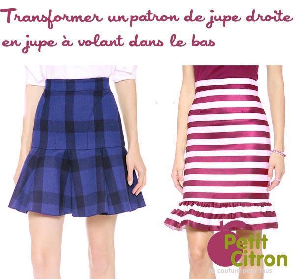 Patron de couture une jupe droite avec un volant dans le bas paperblog - Patron couture jupe droite ...