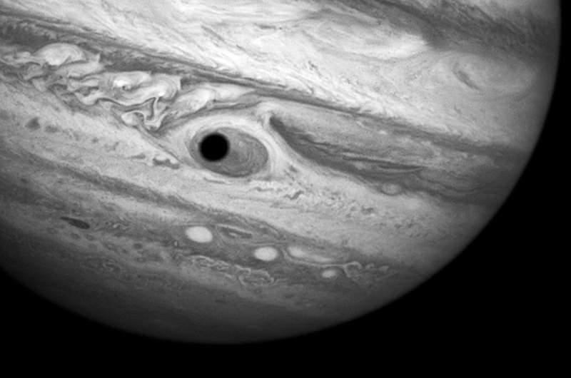Hubble Spies Spooky Shadow on Jupiter's Giant Eye