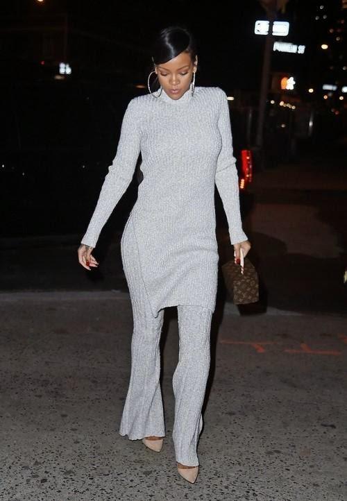 Le Look du Jour : Rihanna en gris Céline...