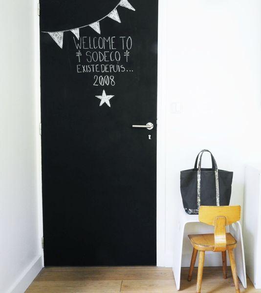 D co ou diy l ardoise s invite chez vous paperblog - Decoration porte interieur peinture ...