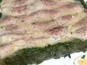 Pressé rougets-barbets chemise d'épinard, mariné Côtes Gascogne rouge pomme verte, cocktail d'algues vinaigrée pimientos