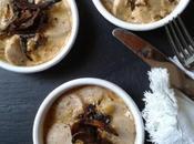 Cassolettes boudin blanc sauce foie gras cèpes