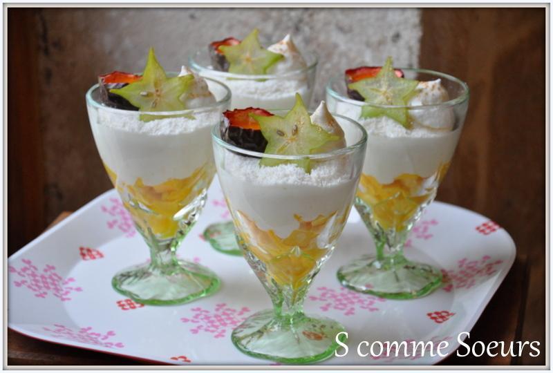 Verrine mousse de coco salade de mangue et coulis passion for Dessert aux fruits en verrine