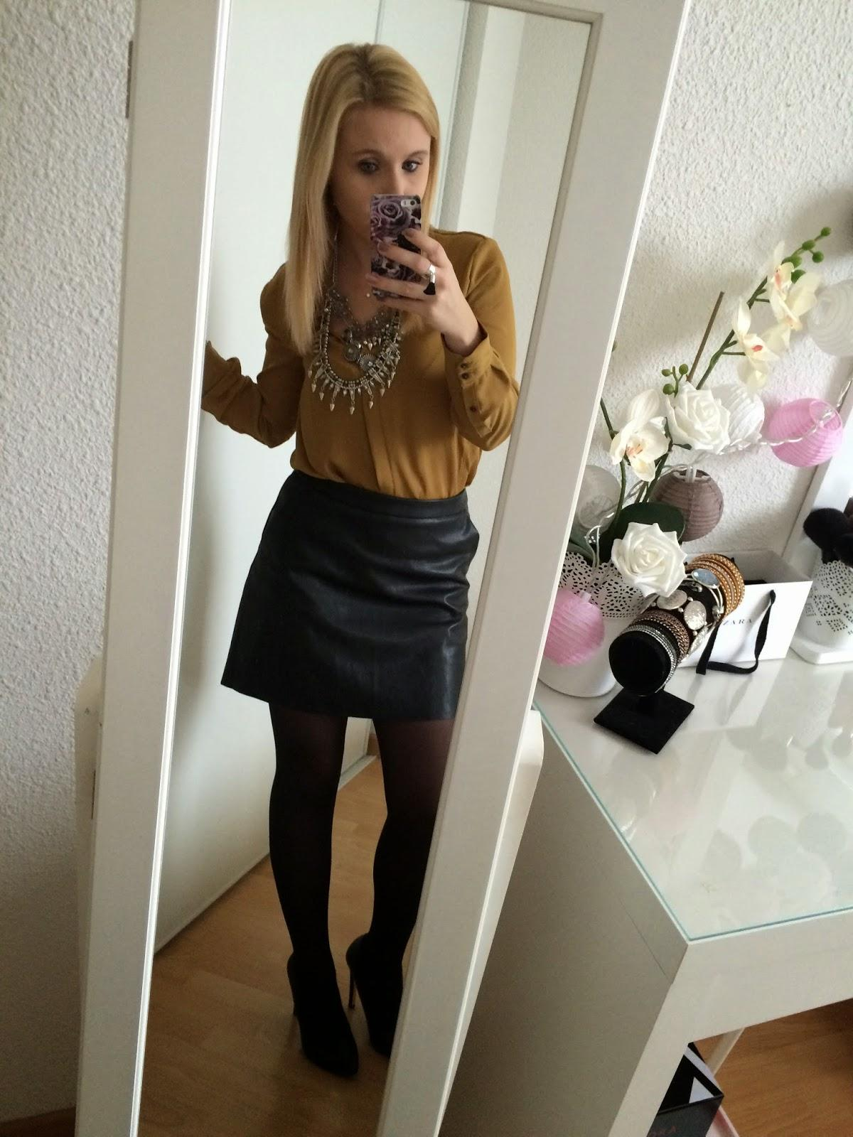 Jupe simili cuir zara jaune - Tenue avec jupe en cuir ...