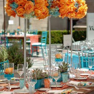 D Coration De Table De Mariage En Turquoise Et Corail D Couvrir