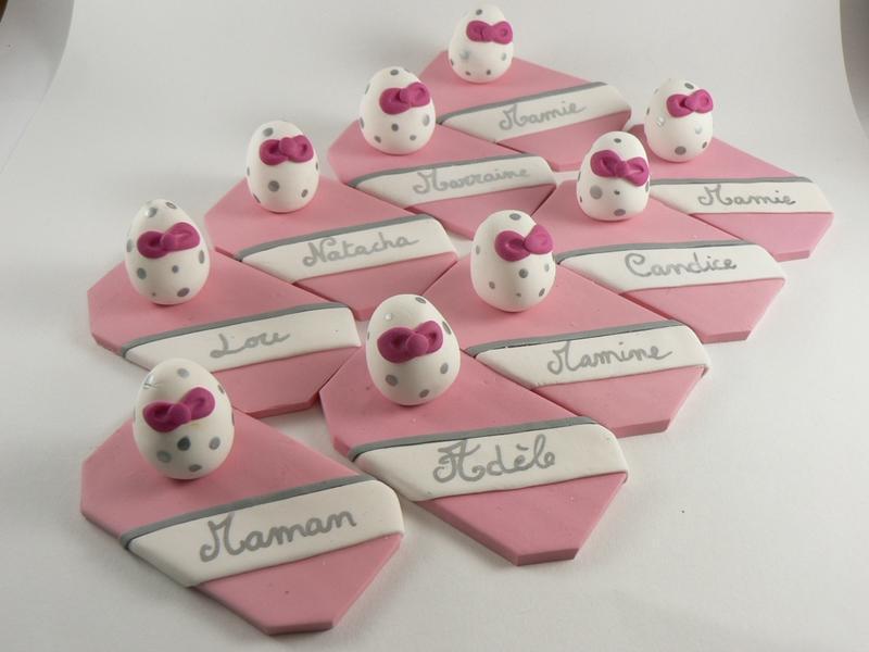 Portes noms oeufs pour une d coration de table d 39 un for Decoration de table pour bapteme fille