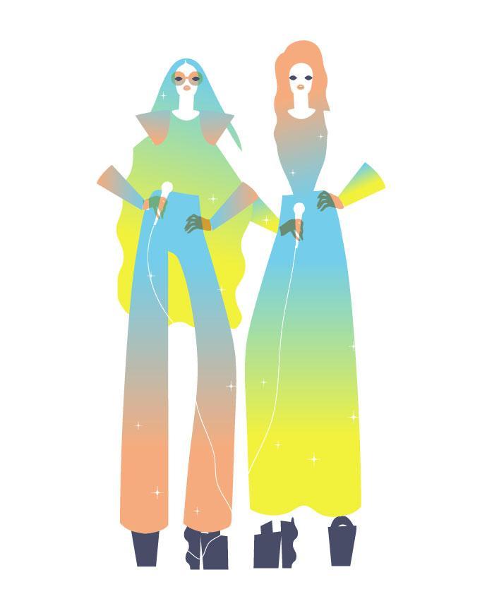Illustration de mode colorée et futuriste par John Lisle