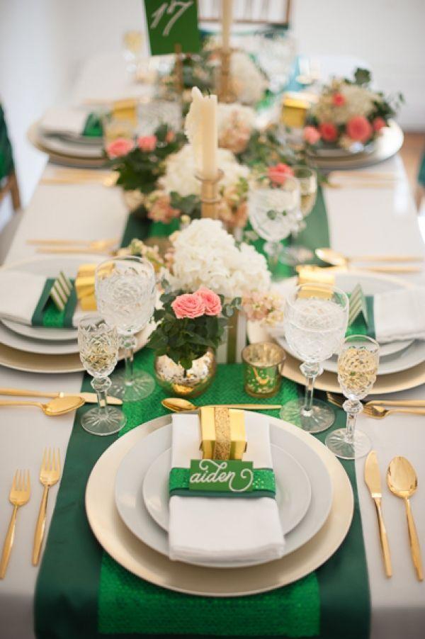 Dcoration De Table Mariage En meraude Et Blanc
