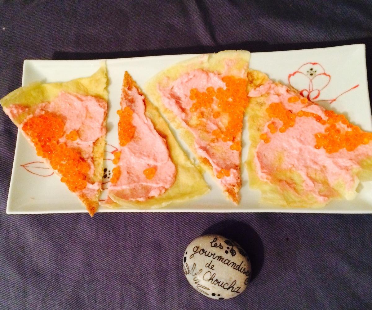 Chandeleur salée : chèvre magret abricot moelleux / sauce tomate mozza chèvre basilic