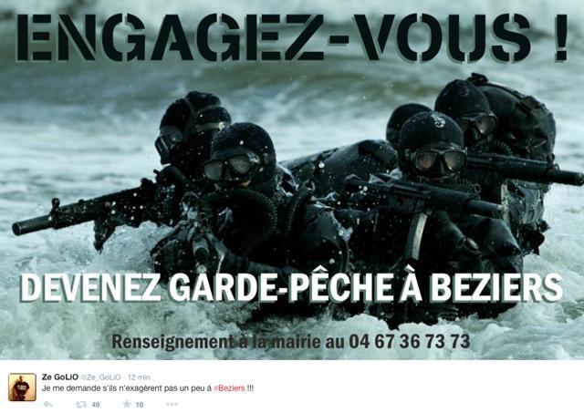 Twitter tourne en d rision l affiche pol mique de b ziers for Piscine municipale beziers