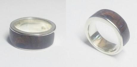 deux vues de la bague en argent de design original en bois