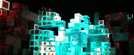 La structure animée du show dans des tonalités de bleu et de blanc évoquant des glaçons.