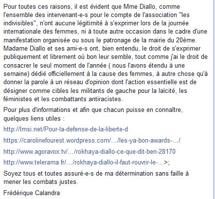 la réponse de Frédérique Calandra, Maire du  XXème, à Rokhaya Diallo