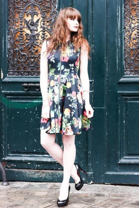 robe fleurs zip