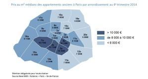 Prix au m mÇdians des appartements anciens Ö Paris par a