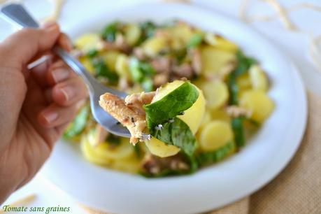 Salade de pommes de terre et sardines au tartare d'algues
