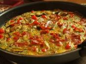 Omelette chorizo, aubergines gouttes poivrons