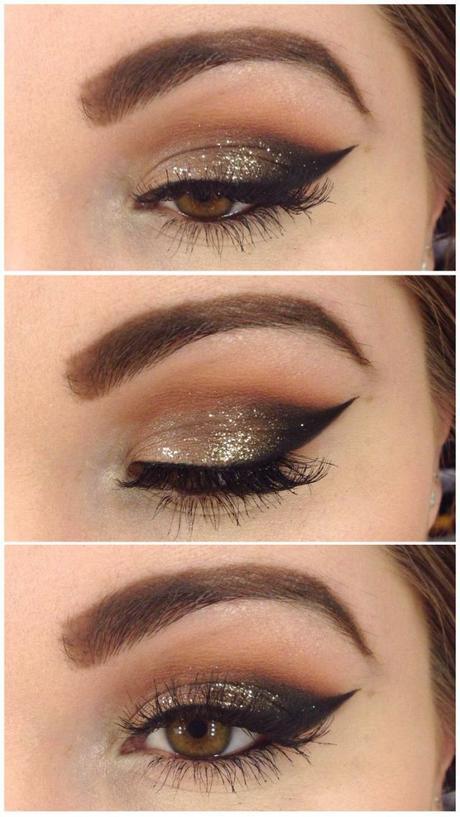 Maquillage mariage des yeux en or, doré maquillage pour mariage,