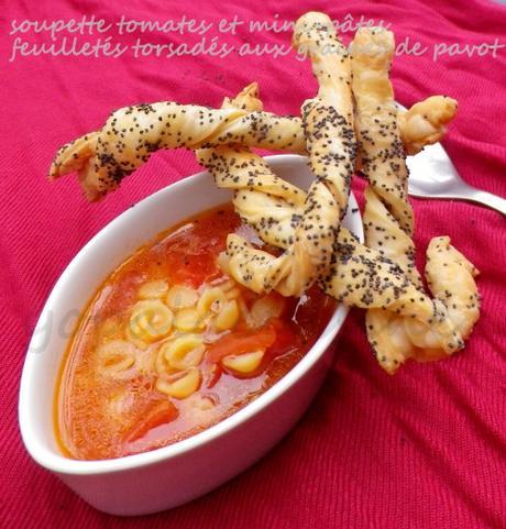 Dîner Express: Soupette Tomates Et Petites Pâtes, Torsades Feuilletées Aux Graines De Pavot